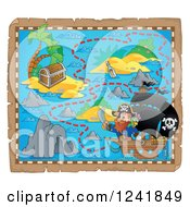 Clipart Of A Captain Pirate And Ship On A Map 2 Royalty Free Vector Illustration by visekart