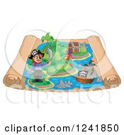 Clipart Of A Pirate Parrot And Ship On A Scroll Treasure Map Royalty Free Vector Illustration by visekart