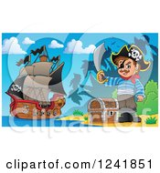 Clipart Of A Pirate With His Treasure On Shore Royalty Free Vector Illustration