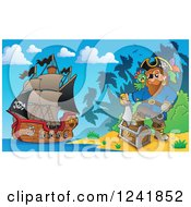 Clipart Of A Pirate Captain With His Treasure On Shore Royalty Free Vector Illustration
