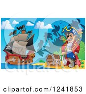 Clipart Of A Pirate Captain With His Treasure On An Island Shore Royalty Free Vector Illustration