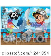 Clipart Of A Pirate Captain Withi A Parrot And Sword On Deck Royalty Free Vector Illustration