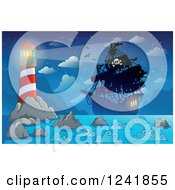 Clipart Of A Pirate Ship In The Beacon Light Of A Lighthouse Royalty Free Vector Illustration