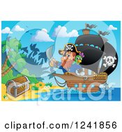 Clipart Of A Pirate Captain Nearing A Treasure Chest On An Island Royalty Free Vector Illustration