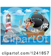 Clipart Of A Pirate Captain Nearing A Lighthouse Royalty Free Vector Illustration