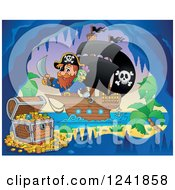 Clipart Of A Pirate Captain Nearing A Treasure Cave Royalty Free Vector Illustration