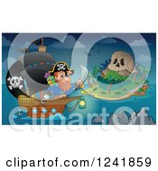 Clipart Of A Pirate Captain And Ship Near A Skull Island Royalty Free Vector Illustration