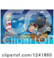 Clipart Of A Pirate Captain And Parrot Near A Lighthouse Royalty Free Vector Illustration