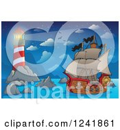 Clipart Of A Pirate Ship Near A Lighthouse Royalty Free Vector Illustration