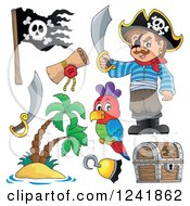 Clipart Of A Male Pirate And Accessories Royalty Free Vector Illustration by visekart