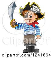 Clipart Of A Male Pirate Holding Up A Sword Royalty Free Vector Illustration by visekart