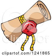 Clipart Of A Jolly Roger Pirate Wax Seal On A Treasure Map Scroll Royalty Free Vector Illustration