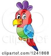 Clipart Of A Colorful Parrot Royalty Free Vector Illustration