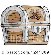 Clipart Of A Wooden Pirate Treasure Chest Royalty Free Vector Illustration