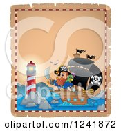 Clipart Of A Lighthouse And Pirate Ship Royalty Free Vector Illustration