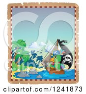 Clipart Of A Parrot Pirate And Ship Nearing An Island Royalty Free Vector Illustration
