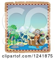 Clipart Of A Pirate Captain Rowing A Boat To An Island Royalty Free Vector Illustration