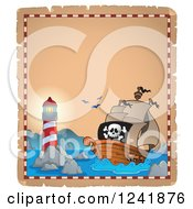 Clipart Of A Background Of A Lighthouse And Pirate Shi Royalty Free Vector Illustration
