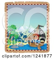 Clipart Of A Pirate Rowing A Boat To An Island Royalty Free Vector Illustration