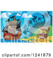 Clipart Of A Treasure Island Beach And Pirate Ship Royalty Free Vector Illustration