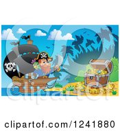 Clipart Of A Parrot And Pirate Captain Nearing A Treasure Beach Royalty Free Vector Illustration