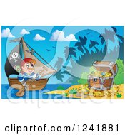 Clipart Of A Pirate Captain Rowing A Boat To A Treasure Island Royalty Free Vector Illustration