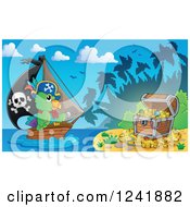 Clipart Of A Parrot Pirate And Ship Nearing A Treasure Island Royalty Free Vector Illustration