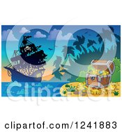 Clipart Of A Pirate Ship And Treasure Chest At An Island Royalty Free Vector Illustration