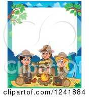 Clipart Of A Boy And Girl Scouts Singing Around A Camp Fire With White Text Space Royalty Free Vector Illustration by visekart