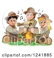 Clipart Of A Boy And Girl Scouts Singing Around A Camp Fire Royalty Free Vector Illustration by visekart
