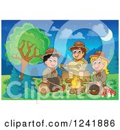 Clipart Of A Boy And Girl Scouts Singing Around A Camp Fire At Night Royalty Free Vector Illustration by visekart