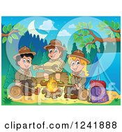 Clipart Of A Boy And Girl Scouts Singing Around A Camp Fire At Dusk Royalty Free Vector Illustration by visekart