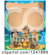Clipart Of A Boy And Girl Scouts Singing Around A Camp Fire With Scroll Text Space Royalty Free Vector Illustration by visekart