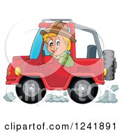 Clipart Of A Happy Safari Man Driving A Jeep Royalty Free Vector Illustration