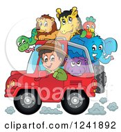 Clipart Of A Happy Safari Man Driving A Jeep Full Of Animals Royalty Free Vector Illustration by visekart