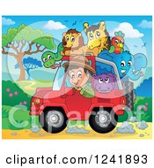 Clipart Of A Happy Man Driving A Jeep Full Of Safari Animals Royalty Free Vector Illustration by visekart