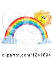 Clipart Of A Happy Sun And Sparkle Rainbow Royalty Free Vector Illustration