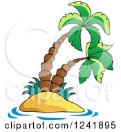 Clipart Of A Small Tropical Island With Palm Trees Royalty Free Vector Illustration