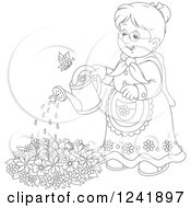 Clipart Of A Black And White Happy Senior Woman Watering A Garden Royalty Free Vector Illustration