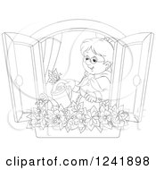Clipart Of A Black And White Happy Senior Woman Watering A Window Planter Garden Royalty Free Vector Illustration