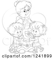 Clipart Of Black And White Happy Grandchildren Hugging Their Granny Royalty Free Vector Illustration