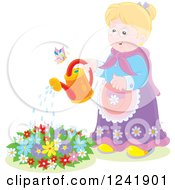 Clipart Of A Happy Caucasian Senior Woman Watering A Garden Royalty Free Vector Illustration