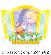 Clipart Of A Happy Caucasian Senior Woman Watering A Window Planter Garden Royalty Free Vector Illustration