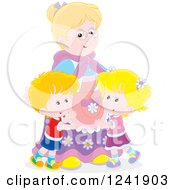 Clipart Of Happy Grandchildren Hugging Their Granny Royalty Free Vector Illustration