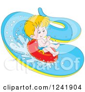 Clipart Of A Happy Blond Boy Tubing Down A Waterslide Royalty Free Vector Illustration