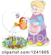 Clipart Of A Happy Blond Senior Woman Watering A Garden Royalty Free Vector Illustration