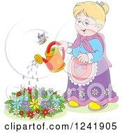 Happy Blond Senior Woman Watering A Garden