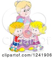 Clipart Of Happy Grand Kids Hugging Their Granny Royalty Free Vector Illustration
