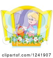 Happy Blond Senior Woman Watering A Window Planter Garden