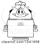 Clipart Of A Black And White Chubby Happy Troll Online Royalty Free Vector Illustration by Cory Thoman